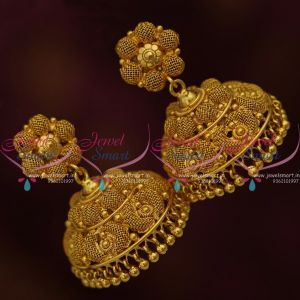 Big Size Broad Plain Gold South Indian Screw Lock Jhumka Earrings Latest Imitation Jewellery Buy Online