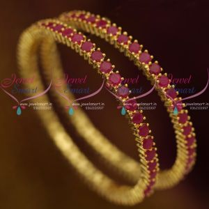 Single Line 4 MM Ruby Semi Precious Stones Traditional Bangles 2 Pcs Set Shop Online