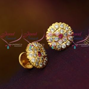 American Diamond Pink White Stones Thick Metal Handmade Screw Back Ear Studs Traditional Designs
