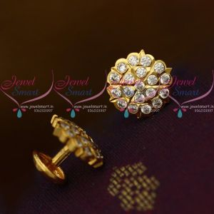 Small Size American Diamond White Stones Thick Metal Handmade Screw Back Ear Studs Traditional Designs