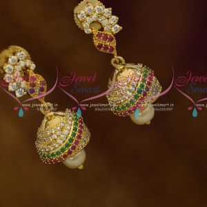 Mini Gold Plated Jhumka Designs American Diamond Fashion Jewellery Red Green White Online