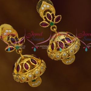 Mini Gold Plated Jhumka Designs Kemp Red Green White AD Fashion Jewellery Online