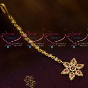 Small Size AD Ruby White Star Design AD Jewellery NethiChutti Traditional Collections Online