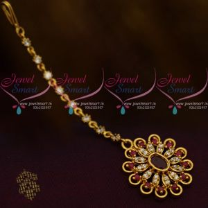 AD Ruby White New Design AD Jewellery Short NethiChutti Traditional Collections Online