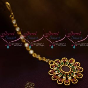 AD Multi Colour New Design AD Jewellery Short NethiChutti Traditional Collections Online