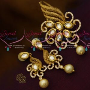 Dull Gold Finish Kundan CZ Fusion Fashion Jewellery Pendant Earrings Buy Online