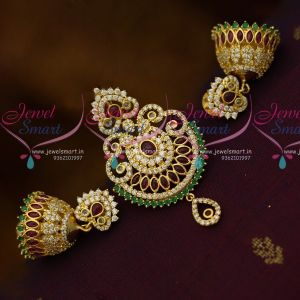 Kemp Red Green Small Size Fancy Design Pendant Jhumka Earrings Set Gold Plated Fashion Jewellery Online