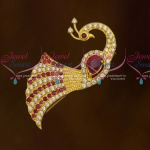 Fancy American Diamond Matching Jewellery Saree Pins Red White Stones Accessory Online