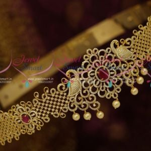CZ Vaddanam Ruby White 40 Inches Adjustable Size Latest Traditional Bridal Oddiyanam Online