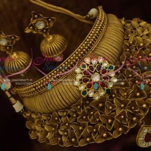 Party Wear Fashion Jewellery Designs Antique One Gram Gold Original Foil Jadau Kundan Stones Broad Choker Shop Online