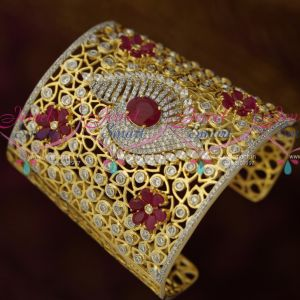 Long Broad American Diamond Ruby White Gold Silver Plated Bridal Kada Collections Shop Online