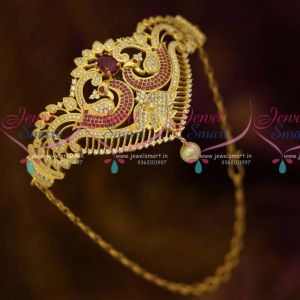 AD Jewellery Belt Vanki Bajuband Latest Adjustable Ruby White Stones Gold Plated Ethnic Designs