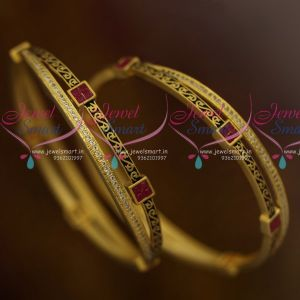 Stylish Antique Finish Rich Look Matte Gold Finish CZ Ruby Setting Stone Bangles Online