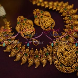 Broad Antique Gold Mango Mala God Design Pendant Temple Jewellery Shop Online Red Green Stones