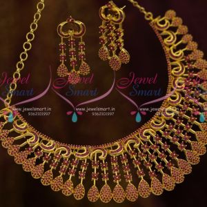Full Ruby Stones Broad Rich Look Gold Finish Fashion Bridal Jewellery Designs Shop Online