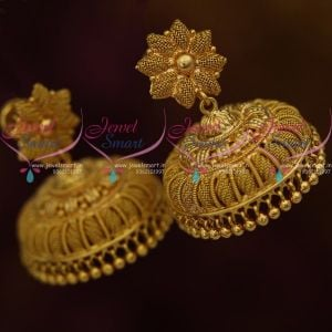 Very Broad Stylish Gold Plated Jhumki  Earrings Screw Back South Indian Design Jewellery