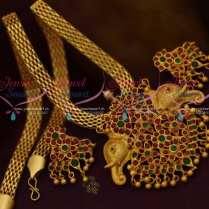 Real Gold Finish Matte Rich Look Elephant Design Jewellery Flat Chain Ruby Emerald Stones Online