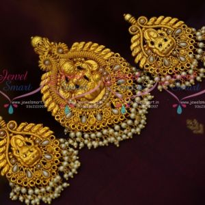 Temple Jewellery Pendant Big Earrings Pearl Drops Traditional Antique Nagas South Indian Designs