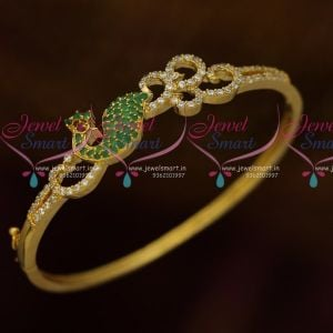 Green White AD Stones Peacock Thin Openable Kada Latest Fashion Jewellery Online