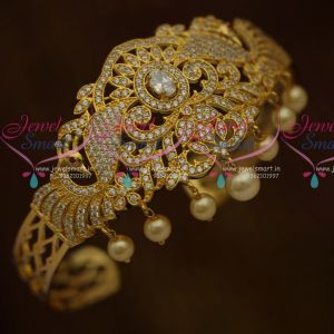 Peacock Belt Vanki Bajuband Arm Jewellery Close Setting White Colour AD Stones Latest South Indian Collections