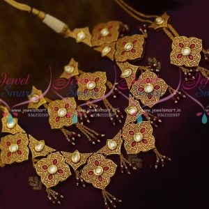 Gheru Brass Metal Gold Finish Intricate Handwork Kundan Jewellery Set Shop Online