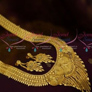 Latest Fashion Jewellery Broad Grand Design Light Gold Plated Matte Finish Haram Online
