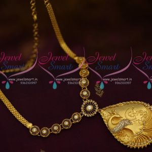 White Stones Peacock 3D Pendant Fancy AD Chain South Indian Handmade Imitation Jewellery Online