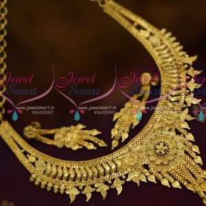 Low Price Imitation Jewellery Designs South Indian Broad Traditional Finish Short Necklace Online