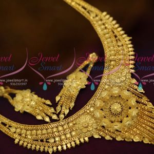 Broad Traditional Finish Short Necklace Low Price Imitation Jewellery Designs South Indian Online