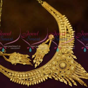 Broad Traditional Finish Short Necklace Low Price Jewellery Designs South Indian Online