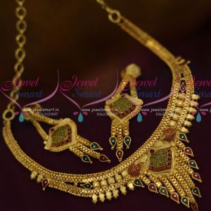 Imitation Jewellery Colour Painting Design South Indian Traditional Finish Short Necklace Online