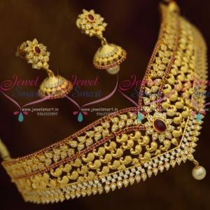 Mango Design Gold Plated Ruby White Kemp Fashion Jewellery Choker Small Jhumka Shop Online