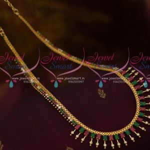 Kerala Style Gold Plated Multi Colour AD Semi Precious Imitation Medium Haram Designs Online