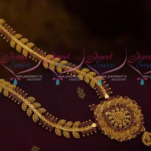 Fancy Leaf Gold Design Semi Precious Ruby Stones Handmade Haram South Indian Jewellery Online