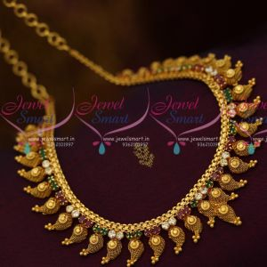 South Indian Handmade Fashion Jewellery Mango Design Red Green White AD Necklace