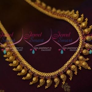 Full Ruby South Indian Handmade Fashion Jewellery Mango Design AD Necklace