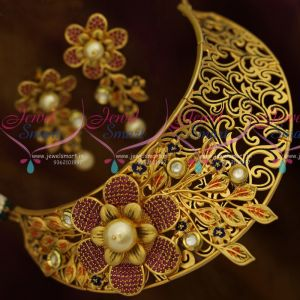 Party Wear Jewellery Beautiful Matte Finish Choker Ruby Kundan Blue Enamel Exclusive Gold Finish Collections