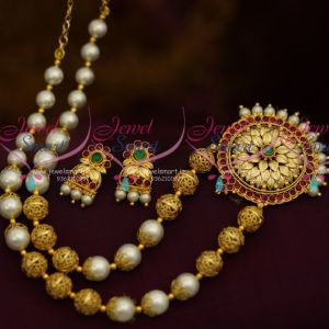 Shell Pearls Beaded Gold Plated Floral Cap Traditional Kemp Pendant Small Screwback Earrings Jewellery Set Online