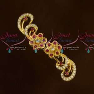 Latest Floral Bow Design AD Stones Fashion Jewellery Saree Pins Collection Online