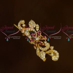 Ruby White Floral Design AD Stones Fashion Jewellery Saree Pins Collection Online