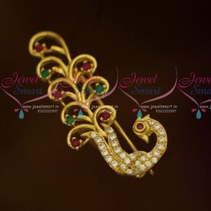 Multi Colour Peacock Design AD Stones Fashion Jewellery Saree Pins Collection Online