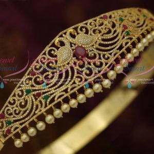 AD Ruby Emerald Peacock Design Vaddanam Gold Plated Imitation Bridal Jewellery Online