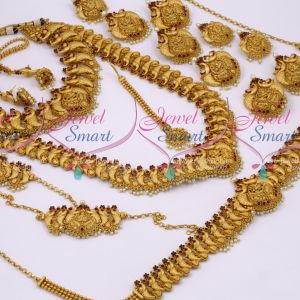 Broad Big Antique Bridal Matte Temple Nakshi Peacock Gold Finish Dulhan Jewellery Full Set Latest Collections