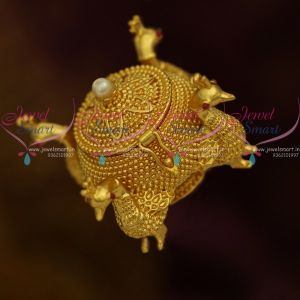 Handmade Four Sided Peaock Design Sindoor Box Kunguma Chimil Gold Plated