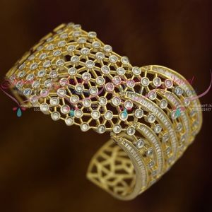 Broad Two Tone Gold Silver Wrist Insert Kada AD Stones Fashion Jewellery Online