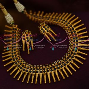 Sapphire Blue Kerala Style Design Matte Dull Gold Plated Fancy Jewellery Set Online