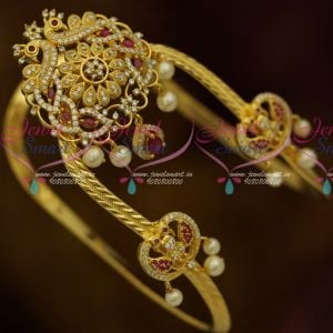 South Indian Traditional Bridal Arm Jewellery Ruby White Matching Bajuband AD Peacock Designs Online