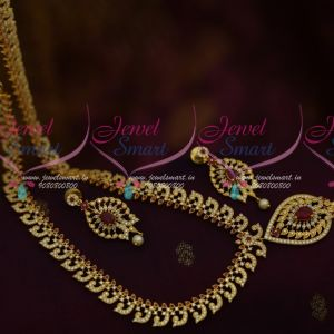 AD Ruby White Medium Haram Elegant Finish South Indian Jewellery Shop Online