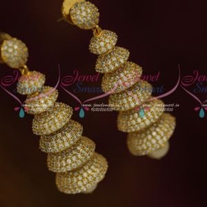 Multi Step Layer AD Jhumka White Stones Latest Fashion Jewellery Collections Online