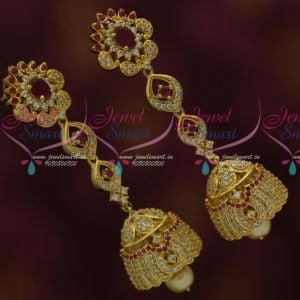 Long Size AD Jhumka Ruby White Womens Fashion Jewellery Collections Online